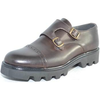 Scarpe Uomo Classiche basse Malu Shoes Calzature uomo art 9677 doppia fibbia vera pelle crust marrone MARRONE
