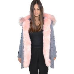 Abbigliamento Donna Parka K-Zell Parka impermeabile grigio donna con pelliccia voluminosa ecologi GRIGIO/ROSA