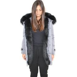Abbigliamento Donna Parka K-Zell Parka impermeabile grigio donna con pelliccia voluminosa ecologi GRIGIO/NERO
