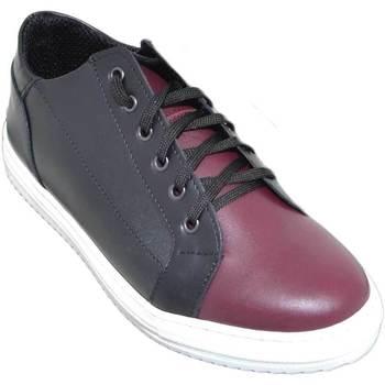 Scarpe Uomo Sneakers basse Malu Shoes Sneakers bassa uomo art:2384 vera pelle bicolore nero e bordeaux NERO