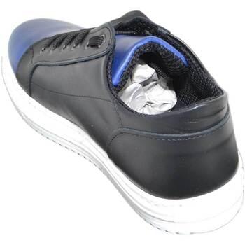 Scarpe Uomo Sneakers basse Malu Shoes SNEAKERS BASSA UOMO ART:2384 VERA PELLE BICOLORE NERO E BLU COMO NERO/BLU