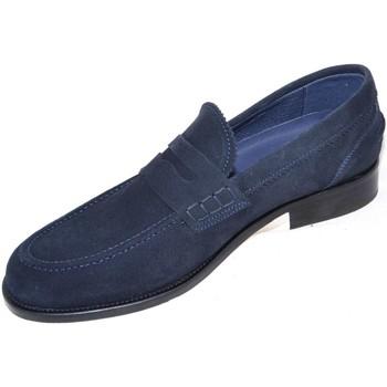 Scarpe Uomo Mocassini Malu Shoes SCARPE MOCASSINI UOMO ART:COLB10 BLU DI CAMOSCIO CON BENDINA AR BLU