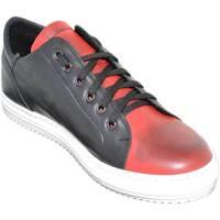 Scarpe Uomo Sneakers basse Malu Shoes Sneakers bassa uomo art:2384 vera pelle bicolore comode moda mad NERO/ROSSO