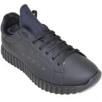 Scarpe Uomo Sneakers basse Malu Shoes Sneakers bassa uomo art.323 nera pelle gommato con fondo runnin NERO