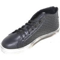Scarpe Uomo Sneakers alte Malu Shoes Sneakers alta uomo art.332 made in italy nera intrecciata moda f NERO