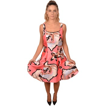 Abbigliamento Donna Vestiti Allure Pink Woman Short Dress Flower Print with Beads Decorations Rosa
