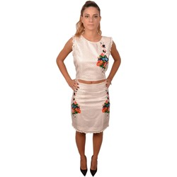 Abbigliamento Donna Vestiti Allure White Woman Top and Skirt with pom poms and Embroidered Flowers Bianco