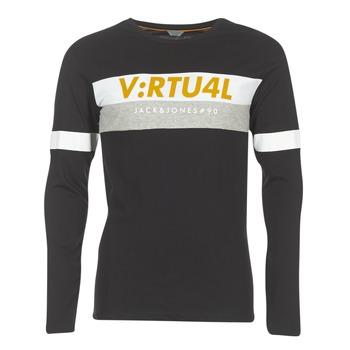 Abbigliamento Uomo T-shirts a maniche lunghe Jack & Jones JCOACE-TEE-LS-CREW-NECK Nero