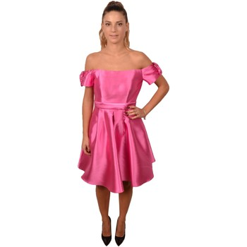 Abbigliamento Donna Vestiti Allure. Pink Short Woman Dress Naked Shoulder Sleeves with Bows<BR/>2299 Rosa