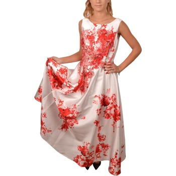 Abbigliamento Donna Vestiti Allure Elegant Woman White with Printed Red Flowers Long Dress<BR/> 20 Bianco