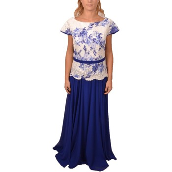 Abbigliamento Donna Vestiti Allure Woman Elegant Royal Blue and White Long Dress Short Sleeve Blu