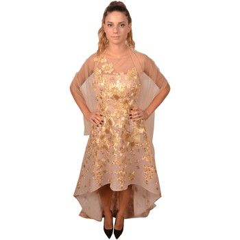 Abbigliamento Donna Vestiti Allure Elegant Woman Nude Dress Longer on the Back with Golden Embroid Oro