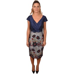 Abbigliamento Donna Vestiti Allure. Woman Elegant Blue Dress with Embroidered Flowers on the Skirt < Blu