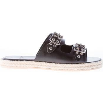 Scarpe Donna Infradito Saint Laurent sandalo espadrillas in pelle NERO con borchie nero