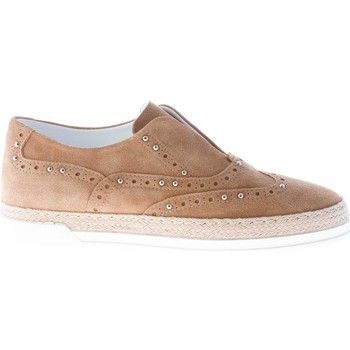 Scarpe Donna Derby Strike Firenze donna slip on in camoscio BEIGE con borchie beige