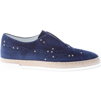 Scarpe Donna Slip on Strike Firenze donna slip on in camoscio BLU con borchie blu