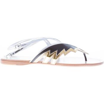 Scarpe Donna Sandali Miu Miu donna sandalo infradito flat in pelle NERO più ORO nero