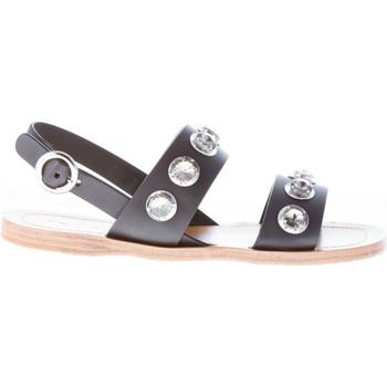 Scarpe Donna Sandali Prada donna sandalo basso in pelle NERO con anelli nero