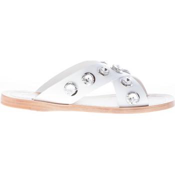 Scarpe Donna Infradito Prada donna sandalo basso slide in pelle BIANCO con  anelli bianco 16f9b66cf29