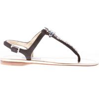 Scarpe Donna Sandali Prada donna sandalo infradito in camoscio NERO con gioiello nero