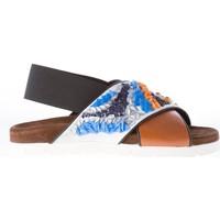 Scarpe Donna Sandali Msgm donna sandalo incrociato in pelle MARRONE marrone