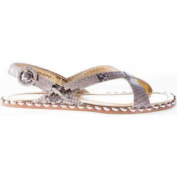 Scarpe Donna Sandali Car Shoe donna sandalo basso in pelle stampa pitone ROCCIA beige