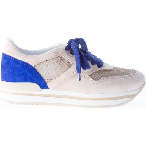 donna sneaker H222 in camoscio più tessuto BEIGE e blu