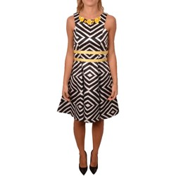 Abbigliamento Donna Vestiti Allure Elagant Woman Short Black and White Geometric Pattern Yellow De Bianco