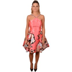 Abbigliamento Donna Vestiti Allure Elegant Woman Pink Short Flower Print Dress Decorated with Bead Rosa