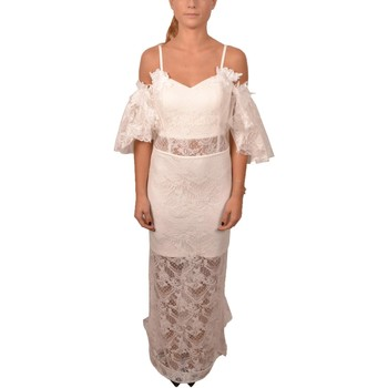 Abbigliamento Donna Vestiti Allure Elegant Woman White Lace Long Dress Voilant Sleeves Flower Bianco