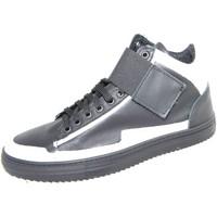 Scarpe Uomo Sneakers alte Malu Shoes Sneakers alta art.8189 in vera pelle nero/bianco strappo ed ela NERO