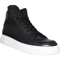 Scarpe Uomo Sneakers alte Malu Shoes Sneakers alta art 250 bianco fondo doppio army vera pelle nero m NERO