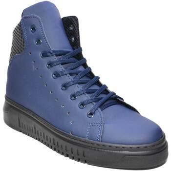 Scarpe Uomo Sneakers alte Malu Shoes Sneakers alta art 250 pelle gommato blu fondo doppio army vera p BLU