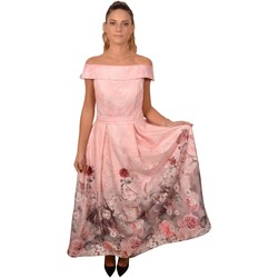 Abbigliamento Donna Vestiti Allure. Elegant Woman Pink Naked Shoulders Long Dress Decorated with LAc Rosa