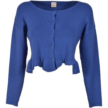 Abbigliamento Donna Gilet / Cardigan Pinko. Stromboli  Short Cardigan Sweater Blue in Viscose Hole in t Blu