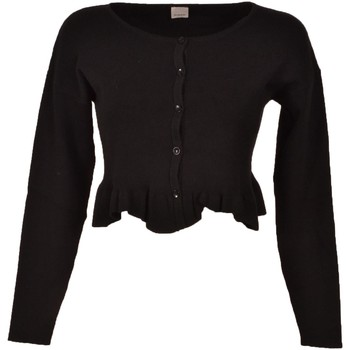 Abbigliamento Donna Gilet / Cardigan Pinko. Stromboli Black Short Cardigan Sweater in Viscose Hole in t Nero