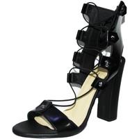 Scarpe Donna Sandali Made In Italia Sandali tacco doppio nero art.st9098  accessori bo NERO