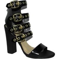 Scarpe Donna Sandali Made In Italia Sandali tacco doppio nero pelle art.st9048  access NERO