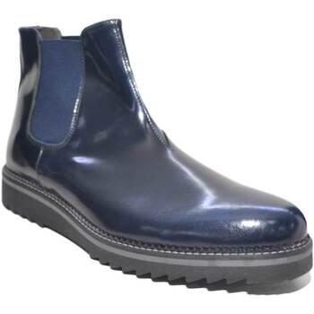 Scarpe Uomo Stivali Made In Italy Scarpe uomo beatles vero pelle abrasivato blu lucido art:3994 fo BLU