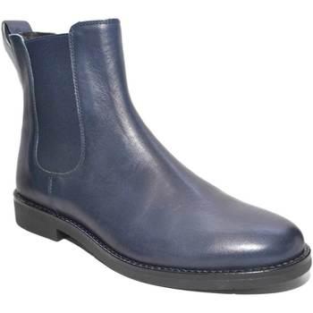 Scarpe Uomo Stivali Made In Italia Scarpe uomo beatles vero pelle nappa blu art:b2309 fondo Mem in BLU