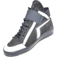 Scarpe Uomo Sneakers alte Malu Shoes Sneakers alta made in italy  art.PM002 in vera pelle scamosciat NERO
