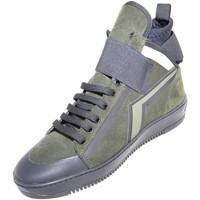 Scarpe Uomo Sneakers alte Malu Shoes Sneakers alta made in italy  art.PM002 in vera pelle scamosciata VERDE