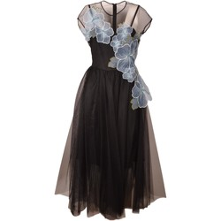 Abbigliamento Donna Abiti corti Pinko. Woman Black Dress Debra with Light Blue Embroidered Flowers Leng Nero