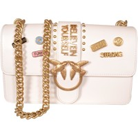 Borse Donna Tracolle Pinko. Bag Pinko Bag White Leather&nbsp;Love Pins with Golden Chain<BR/>1P2 Bianco