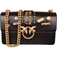 Borse Donna Tracolle Pinko. Bag Pinko Bag&nbsp;Black Leather Love Pins with Golden Chain<BR/>1P2 Nero