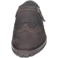 Scarpe Uomo Classiche basse Malu Shoes SCARPE UOMO FIBBIA FRANGE VERA PELLE SCAMOSCIATA MARRONE MADE IN MARRONE