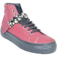 Scarpe Donna Sneakers alte Malu Shoes Sneakers alta in vera pelle gommata bordeaux e strappo con swaro BORDEAUX