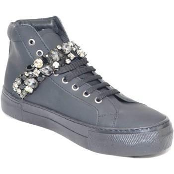 Scarpe Donna Sneakers alte Malu Shoes Sneakers alta scarpe donna in vera pelle gommata nera e strappo NERO