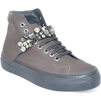 Scarpe Donna Sneakers alte Malu Shoes Sneakers alta in vera pelle gommata testa di moro e strappo con MARRONE