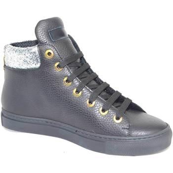 Scarpe Donna Sneakers alte Malu Shoes Sneakers altascarpe donna in vera pelle bortolata nera con inse NERO